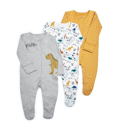 Dinosaur Jersey Sleepsuits - 3 Pack (*SIZE / STOCK ที่ไลน์ :@mommories )