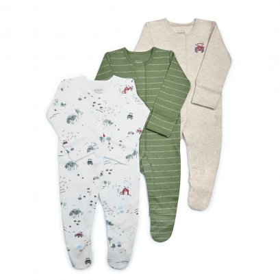 Tractor Jersey Sleepsuits - 3 Pack  (*SIZE / STOCK ที่ไลน์ :@mommories )