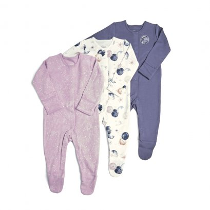 3 Pack Space Sleepsuits