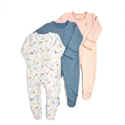 3 Pack Farm Sleepsuits