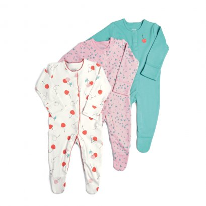 3 Pack Cherries Sleepsuits