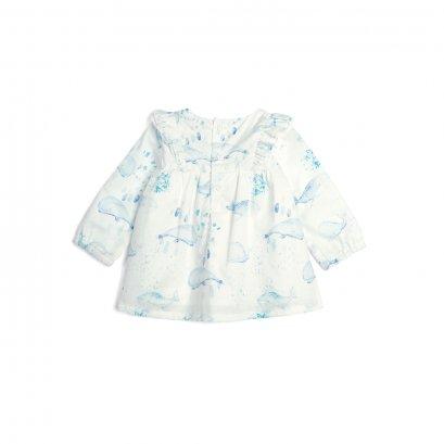 Whale Print Blouse (Size 0-3 / 3-6 / 6-9 / 9-12)