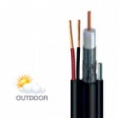 สายนำสัญญาณรุ่น : CCTV500M/AC  สีดำ มีสลิง มีสายไฟ ยี่ห้อ LEOTECH (dBy)