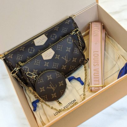 In Stock - Louis Vuitton Multi Pocchette Accessories สายชมพู