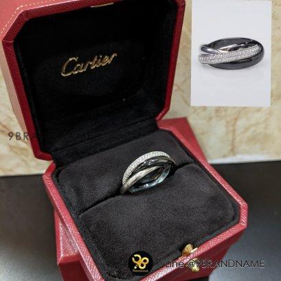 Used-Cartier 18 k White Gold Diamond and Ceramic Trinity Ring