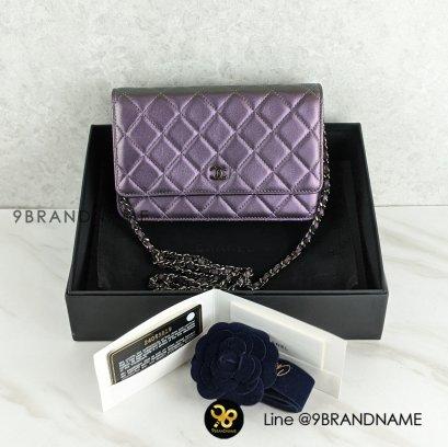 Used - Chanel Lamb skin Woc Purple Iridescent