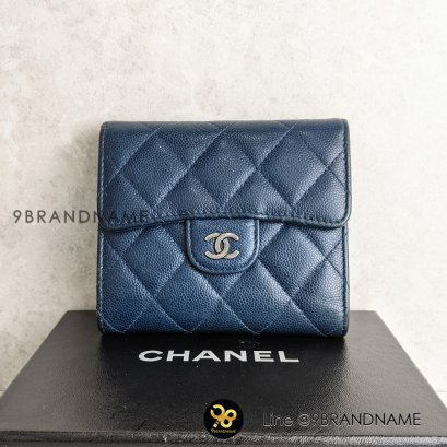 Used​ -​Chanel CC Compact Flap​ Wallet​ ใบสั้น​ 3พับ น้ำเงินเข้ม