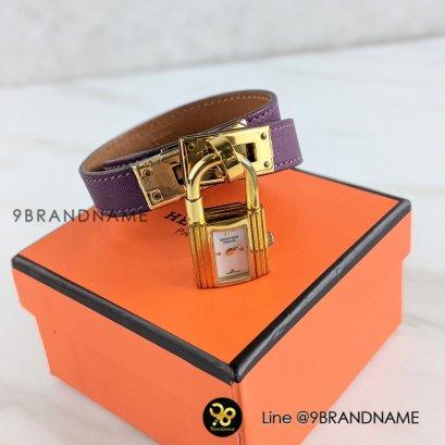 Used : Hermes Kelly Double Toue Bracelet /Swift / Purple Size : Lady