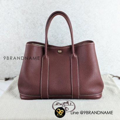 Used : Hermes Garden Party /Clemence /น้ำตาลแดง - Authentic bag Size : 30