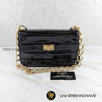 """Chanel Classic Flap Auth """"Rare"""" Shoulder bag Patent GHW size 9""""- Used Authentic"""