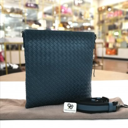 Bottega Veneta Light Tourmaline Intrecciato Small Messenger