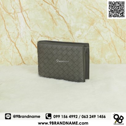 New Bottega Veneta Wallet Bi-Fold Whit Cions Purse Lamb Skin Gray Color