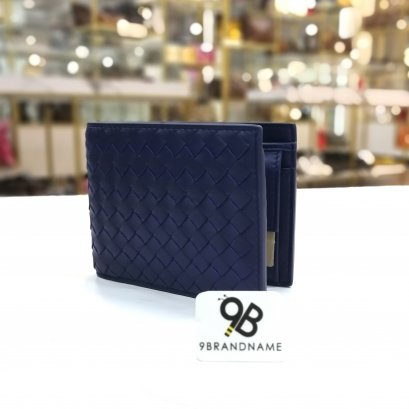 In Stock Bottega Veneta Bi-fold wallet with coin Purse Blue Color