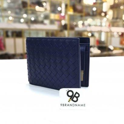 In Stock  Bottega Veneta Bi-fold wallet with coin Purse Blue Color