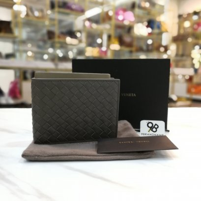 In Stock Bottega Veneta Bi-fold wallet with coin Purse Gray Color