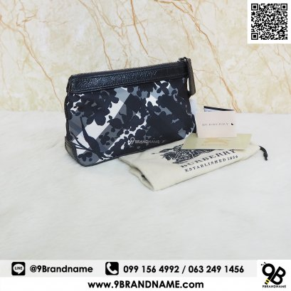 Burberry Nylon Beat Check Floral Cosmetic Bag