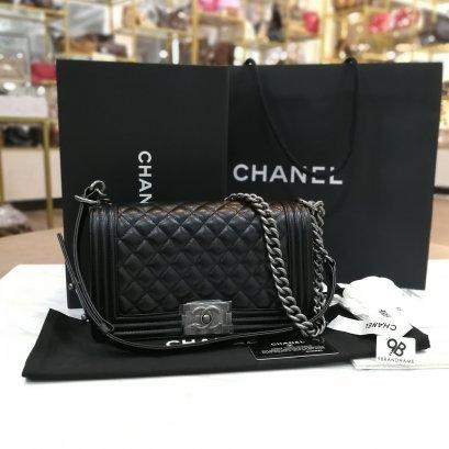 Chanel Boy Black Caviar Size 10 RHW