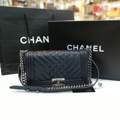 Chanel Boy Chevron Navy Blue Size10 RHW