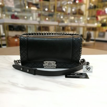 Used - Chanel Boy Reverso Black Calfskin RHW Medium Size 10