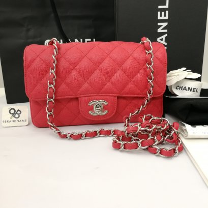 Used Like​ New -​ Chanel Classic​ Mini​ 8​ Red​Pink Caviar​ SHW
