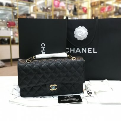 Chanel Classic​ Bag​ Black Caviar​ GHW​ (New) Size 10