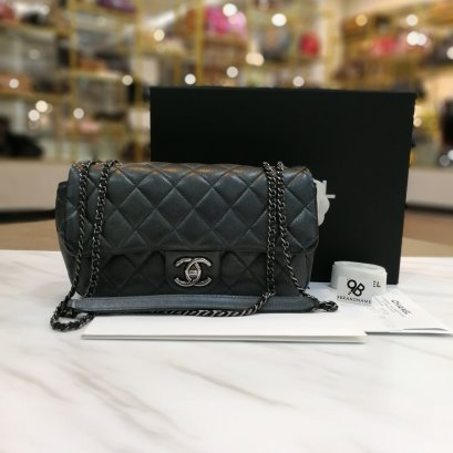 Used -​ Chanel Eyelet Flap Metallic Dark Silver Calfskin Quilted Medium CC 31 Rue Cambon RHW
