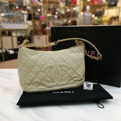 Used -​ Chanel Shouder​ Bag​ Beige​ Caviar​ GHW​