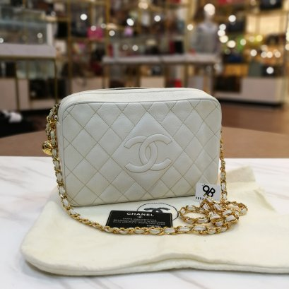 Used - Chanel Crossbody​ White​ Caviar​ GHW​