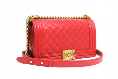 Chanel boy Size 10''  red lamb GHW