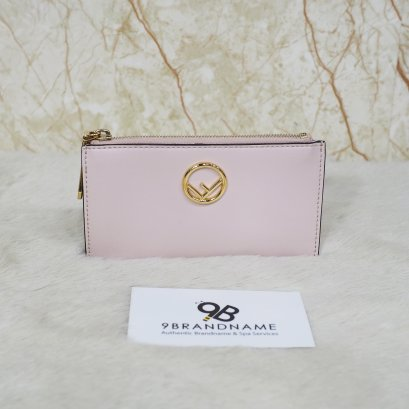 Fendi Textured leather Cardholder  Baby pink GHW