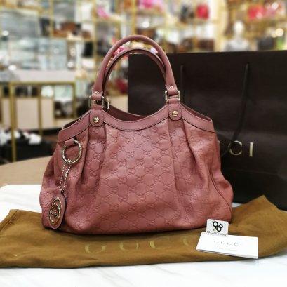 Gucci Guccissima Leather Sukey Tote Bag Pink Medium211944 001013