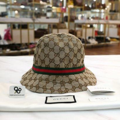Gucci Kids Beige & Green GG Logo Fedora Hat