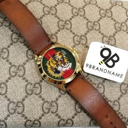 Gucci  Tiger Face Watch w/ Leather Strap 38mm