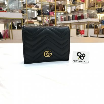 In​ Stock​ - Gucci Wallet​ Short​ GG Marmont​ Black Lamb​ GHW​
