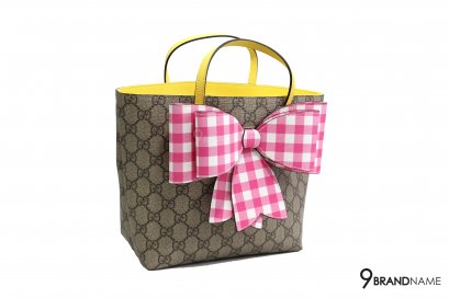 Gucci Kids Children's GG Supreme check bow tote