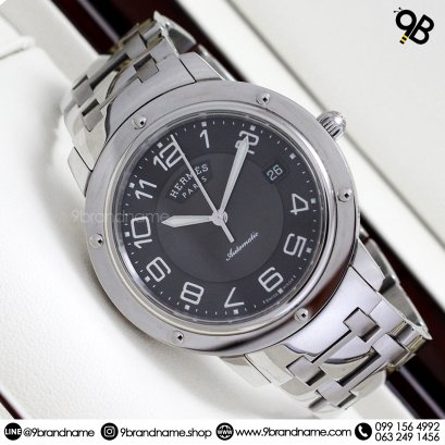 Hermes Clipper large model watch in stainless steel Ref CL6.710 Circa 2000