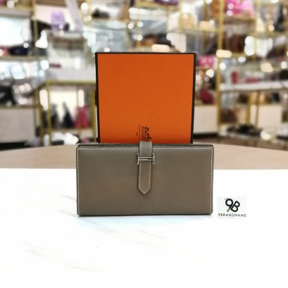 Hermes Wallet​ Bearn​ Gray​ Etoupe​ Long​ Chevre SHW​