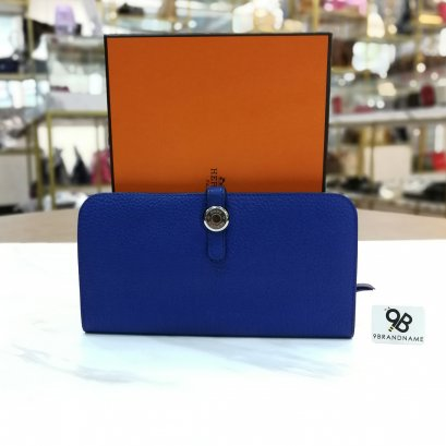Hermes Wallet​ Dogon Bi-Fold​ Long​ Clemence​ Blue​ Electric SHW Stamp O 2011