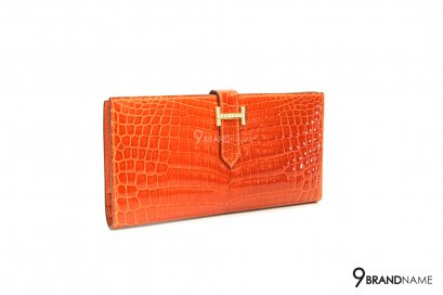 Hermes Niloticus Crocodile Diamond Bearn Wallet Orange