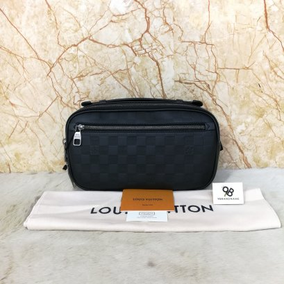Louis Vuitton​ Ambler​D.Inf.Onyx Damier​ Infini​ Black N41288​ Belt​ Bag​