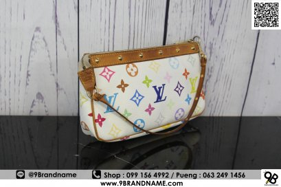 Louis Vuitton White Multicolor Monogram Pochette Bag