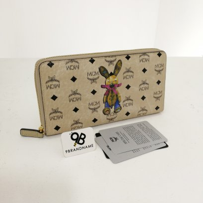 MCM​ Wallet​ Zip​ Around Visetos​ Beige​ Rabbit Print