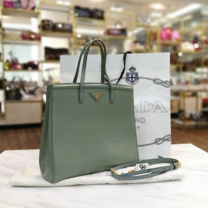 Prada Saffiano Bn 2535 Vernice Green Leather GHW