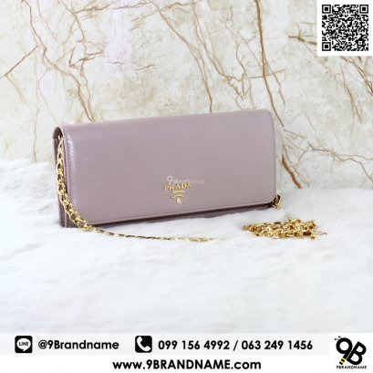 Prada Saffiano Wallet on Chain (WOC) Baby Pink GHW