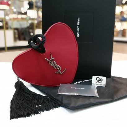 Saint Laurent Heart Shaped Tassel Clutch Red