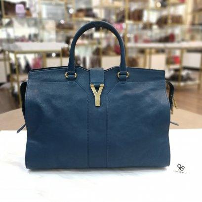 Used - Yves Saint Laurent Cabas Chyc Hand Bag Blue Laurent Large Size GHW