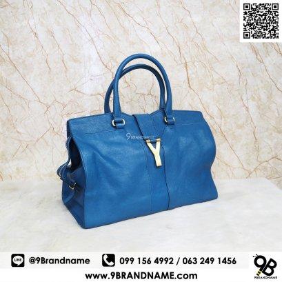 Yves Saint Laurent YSL Y Cabas Chyc Ligne Medium Cobat Blue Tote Bag 1