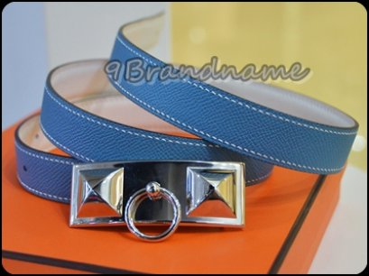 Hermes Reversible Belt Blue-White CDC PHW size 95
