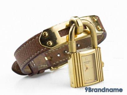 Hermes Kelly Ladies Wristwatch Brown Leather - Used Authentic  นาฬิกาแอร์เมสเคลลี่ สุภาพสตรีสีน้ำตาลหนังแท้อะไหล่สีทอง ของแท้มืองสองสภาพดีค่ะ