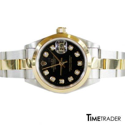 Rolex Oyster Perpetual Datejust 2K สายโปร่ง Black Diamond Lady Size